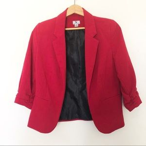 Worthington Red Short Blazer with Ruched Sleeves